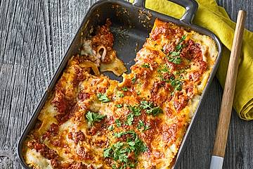 Lasagne mit Suppengrün und Crème fraîche