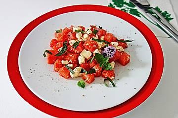 Wassermelonensalat mit Feta und Minze