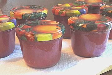Rote Stachelbeer-Pfirsich-Konfitüre mit Baileys