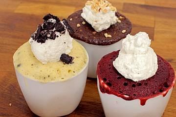3 Tassenkuchen-Varianten: Oreo, Nutella, Red Velvet