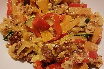 Leckere Cabanossi-Gemüse-Pfanne Low Carb