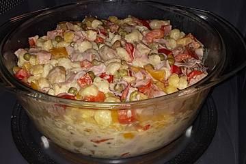 Schnelle Knöpfle mit Gemüse in Käse-Sahne-Sauce