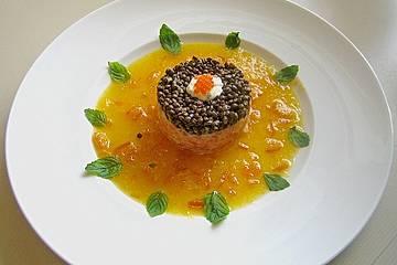 Lachs - Orangen - Tartar mit  Belugalinsen