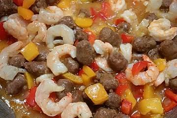 Shrimps, Merguez und Polenta