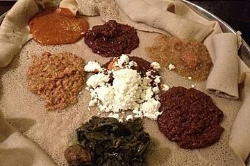 Äthiopisches Fladenbrot Injera mit Teffmehl