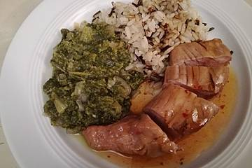 Roberts karamellisiertes Teriyaki-Schweinefilet an Mangold mit Reis