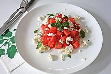 Wassermelonen-Feta-Salat mit Minze