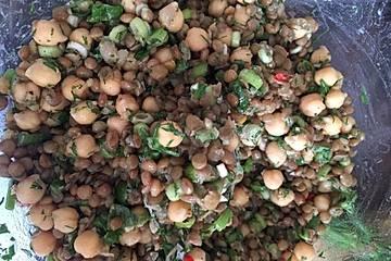 Türkischer Feinkost-Linsensalat mit Kichererbsen und Bulgur