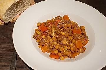Kichererbsen-Hackfleisch Pfanne mit Feta