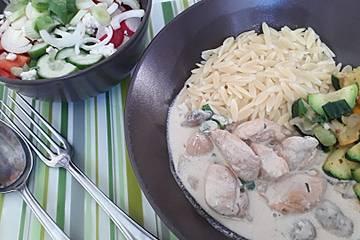 Low Carb Hähnchen-Champignon-Pfanne mit Bacon