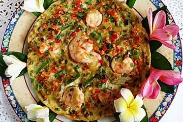 Omelette mit Pilzen und Garnelen