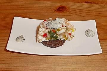 Schrat`s Tellersülze von Schellfisch und Krabben als Amuse Gueule