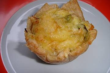 Pasteten mit Hähnchen, grünem Spargel und Mais