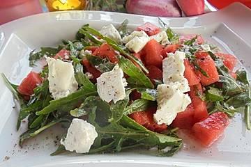 Melonensalat mit Rucola und Feta