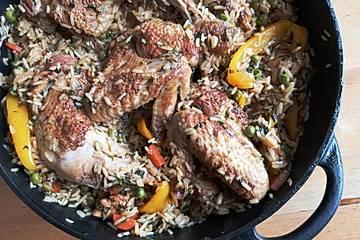 Peruanischer Huhn - Reis - Eintopf