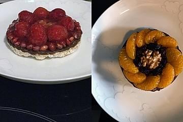 Gesundes Reiswaffel-Dessert Himbeere oder Mandarine à la Juliet