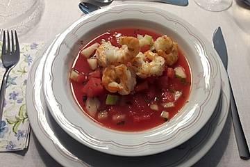 Kalte Melonensuppe mit gebratenen Garnelen