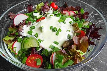 Kopfsalat, Gurke, Radieschen und Tomaten mit einem Joghurt Knoblauch Dressing