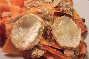 Karottengratin mit Ziegenkäse und Cashewsahne