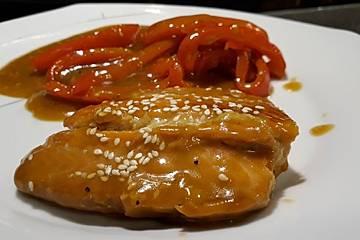 Asiatisch angehauchter Honig-Senf-Lachs