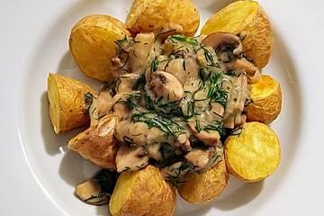 Vegane Dillsauce mit Champignons, Spargel und Ofenkartoffeln