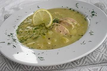 Kartoffel-Porree-Suppe mit Wildlachs