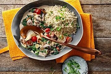 Vegane Pilz-Reispfanne