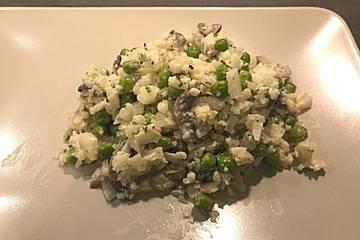 Blumisotto mit Erbsen und Pilzen