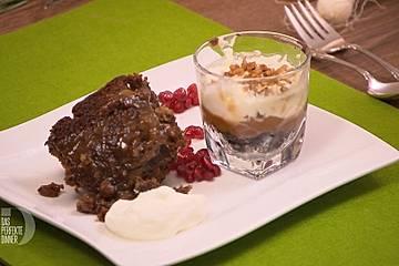 Sticky Toffee Bread Pudding (Karamellisierter Dattelkuchen) und Turtle Cheesecake in a Glass