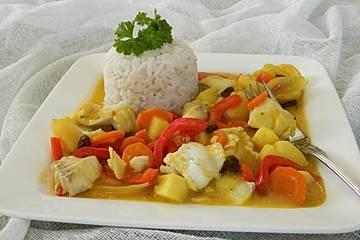 Curryfisch mit Gemüse