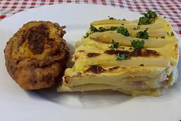 Kartoffel-Spargelgratin mit Maishähnchenbrust