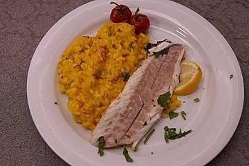 Safran-Peperoncino-Orangenrisotto, Loup de Mer mit Salbeicrunch