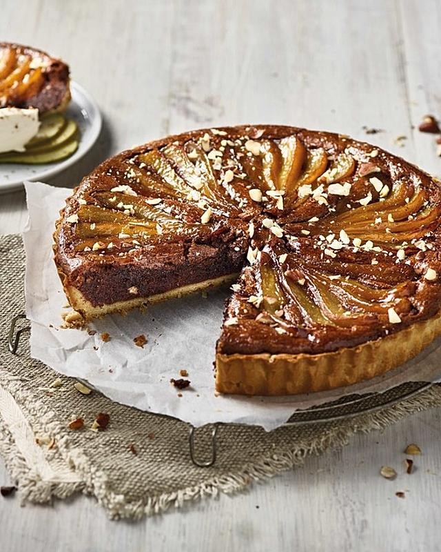 Birnen- und Schokoladen-Frangipane-Tarte
