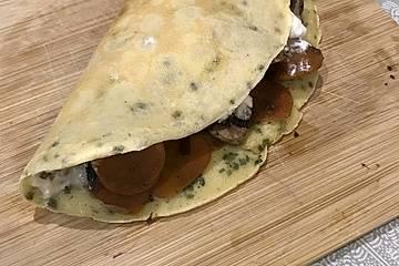 Gemüse-Pfannkuchen mit Crème fraîche