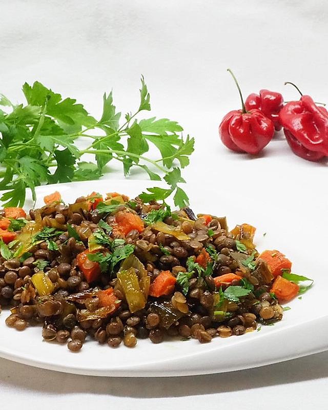 Balsamico-Linsen mit Gemüse