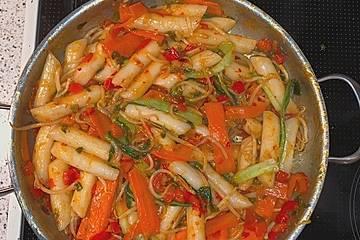 Sweet Chili Rice Cake Pfanne mit Gemüse