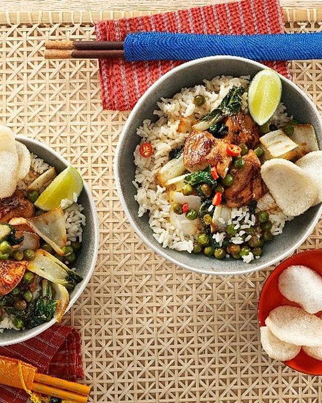 Hähnchen-Teriyaki mit Reis