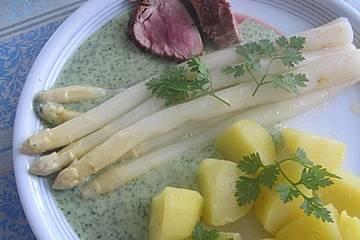 Leichte Kerbelsoße, gebunden mit Kartoffeln