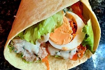Thunfisch-Wraps mit herrlicher Joghurtsoße