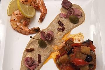 Caponata Siciliana, Vitello Tonnato und eingelegte Scampi
