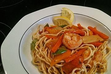 Shrimps - Gemüse - Mie Nudel - Wok, süß- scharf