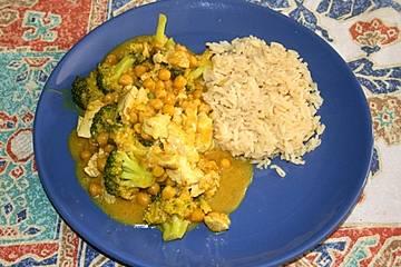 Brokkoli mit Kichererbsen und Hähnchenbrust in Kokossauce