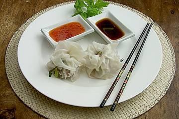 Dim Sum - gedämpfte, chinesische Klößchen in Reispapier