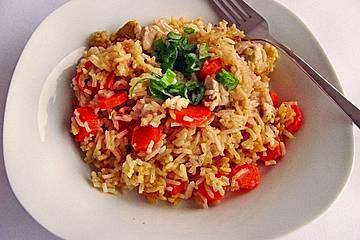 Reispfanne mit Hühnchen und Gemüse