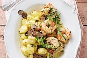 Gnocchi mit Garnelen-Trüffel-Kräuter-Soße