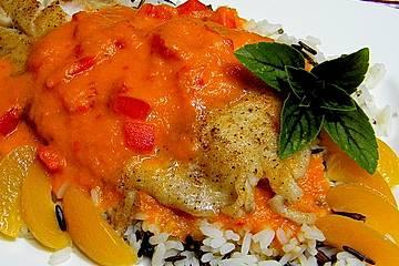 Rotbarsch mit Paprika - Aprikosen - Sauce