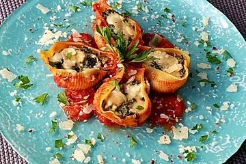 Muschelnudeln mit Ricotta - Spinat - Füllung