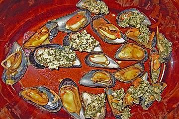 Gegrillte Miesmuscheln mit Petersilie und Parmesan