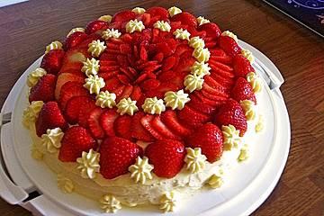 Erdbeer-Kuchen mit Vanillecreme