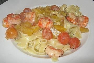 Mango, Papaya, Shrimps, Nudeln
